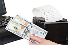 Payment for purchases in the store by cash. Stock Photos