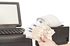 Payment for purchases in the store by cash. Close up. Rackmount Stock Photography