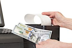 Payment for purchases in the store by cash. Receipt Printer with Stock Image