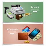 Payment Realistic Horizontal Banners. Set of horizontal banners realistic financial equipment with money and nfc payment colored background isolated vector Royalty Free Stock Photography