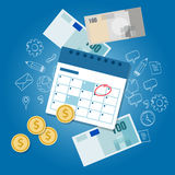 Payment schedule day calendar payday deadline money overdue. Payment schedule day calendar payday deadline money vector Royalty Free Stock Image