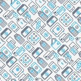 Payment seamless pattern. With thin line icons related to credit card, money flow, saving, atm, mobile payment. Vector illustration of banner, web page, print Stock Photography