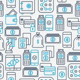 Payment seamless pattern with thin line icons. Related to credit card, money flow, saving, atm, mobile payment. Vector illustration of banner, web page, print Royalty Free Stock Photography