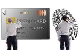 Payment security concept drawn by businessmen Stock Photos