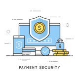 Payment security, data and transactions protection. Flat line ar. T style concept. Vector banner, icon, illustration. Editable stroke Stock Photo