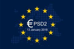 Payment Services Directive 2 PSD2. On European Union Flag Stock Image