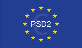 Payment Services Directive 2 PSD2. On European Union Flag Stock Images