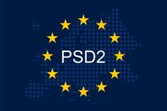 Payment Services Directive 2 PSD2. On European Union Flag Royalty Free Stock Photos