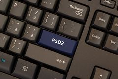 Payment Services Directive 2 PSD2. On keyboard button Stock Photos