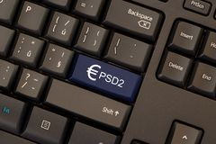Payment Services Directive 2 PSD2. On keyboard button Royalty Free Stock Photo