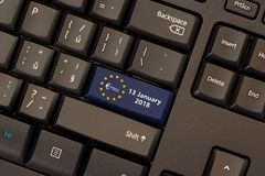 Payment Services Directive 2 PSD2. On keyboard button Royalty Free Stock Images