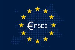 Payment Services Directive 2 PSD2. On European Union Flag Stock Photography