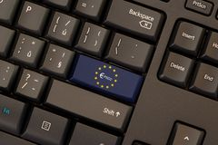 Payment Services Directive 2 PSD2. On keyboard button Stock Photography