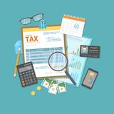 Payment of tax, invoices, bills concept. Financial calendar, money, tax form on clipboard, magnifying glass, calculator. Payday. Icon. Vector illustration Stock Image