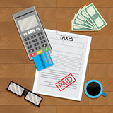 Payment tax with terminal card. Graphic budget income and tax. Vector illustration Stock Photos