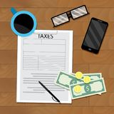 Payment of tax, top view on wooden table. Finance profit and audit tax. Vector illustration Royalty Free Stock Photos