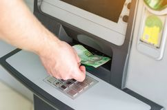 Payment terminal, payment acceptance, Ukrainian hryvnia stock image