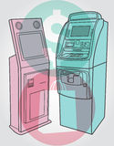 Payment terminal, atm. Illustration of person and payment terminal, simple art for web and print design appealing for payment theme Stock Image
