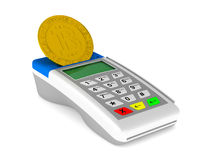 Payment terminal and bitcoin on white background.  3d. Illustration Royalty Free Stock Photography