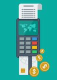 Payment terminal with card Royalty Free Stock Images