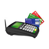 Payment terminal with color bank cards. Wireless payment terminal with blue, green and red bank cards isolated on white background stock illustration