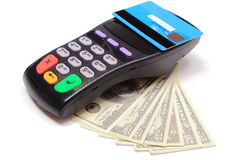 Payment terminal with contactless credit card and money Royalty Free Stock Photos