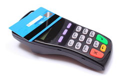 Payment terminal with contactless credit card on white background Stock Photos