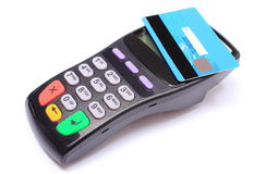 Payment terminal with contactless credit card on white background Stock Images