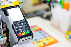 Payment terminal. In convenience store Stock Images