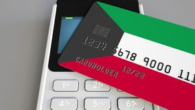 Payment terminal with credit card featuring flag of Kuwait. Kuwaiti national banking system conceptual 3D animation