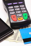 Payment terminal, credit card and mobile phone with NFC technology, money Stock Image