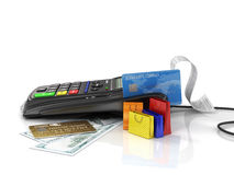 Payment terminal with credit card, money and shopping bag on whi Royalty Free Stock Image