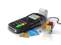 Payment terminal with credit card, money and shopping bag on whi Royalty Free Stock Photography