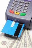 Payment terminal with credit card and money Stock Photography