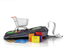 Payment terminal with credit card, shopping cart and shopping ba Stock Photography