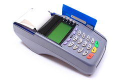 Payment terminal with credit card on white background Royalty Free Stock Images