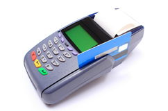 Payment terminal with credit card on white background Royalty Free Stock Photos