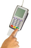 Payment terminal - a finger entering the PIN code Stock Images