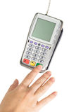 Payment terminal - a finger entering the PIN code Royalty Free Stock Photography