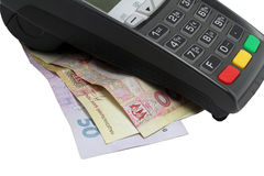 Payment terminal and  Hryvnia Royalty Free Stock Images