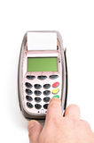 Payment terminal and human hand Stock Photography