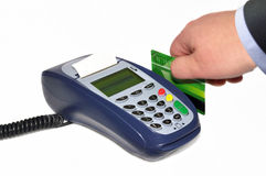 Payment terminal and human hand Royalty Free Stock Image