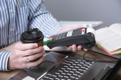 Payment terminal in the office. Royalty Free Stock Image