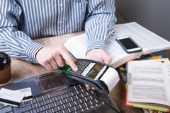Payment terminal in the office. Royalty Free Stock Images