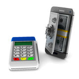 Payment terminal and phone on white background. Isolated 3d Stock Photos