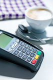 Payment terminal in the restaurant. Stock Photo