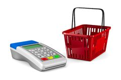 Payment terminal and shopping basket on white background. Isolat Royalty Free Stock Photography