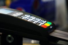 A payment terminal. To pay for your purchase Royalty Free Stock Photo