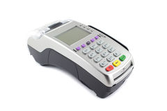 Payment terminal on white background Stock Photos