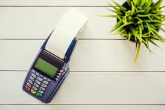 Payment terminal on white background top view.  Royalty Free Stock Images